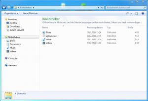 Fenster mit der Übersicht über die neuen Bibliotheken in Windows 7