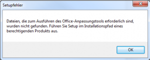 Office Custamization Tool Setupfehler