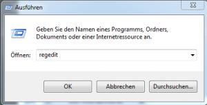 Ausführen - regedit Windows 7