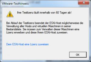 VMWare vSphere Client Lizenz Warnung